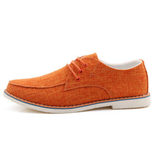 Fashion Trend Leather Flat shoes (Orange) - picture 2