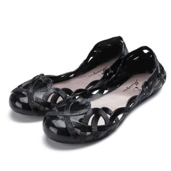 Fashion Women Casual Flats Shoes Crystal Jelly Hollow Slip-on Sandals Flip Flops BLACK - intl - 5