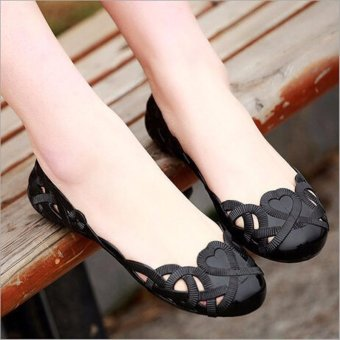 Fashion Women Casual Flats Shoes Crystal Jelly Hollow Slip-on Sandals Flip Flops BLACK - intl - 2