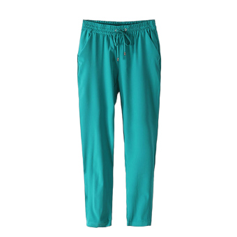 Fashion Women Chiffon Harem Pants Drawstring Elastic Waist Pants Green (Intl)