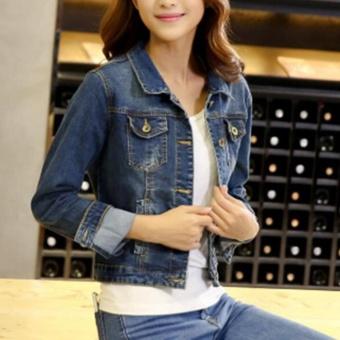 Fashion Women Denim Western Cropped Jean Jacket - intl - 2