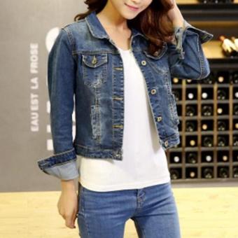Fashion Women Denim Western Cropped Jean Jacket - intl - 3