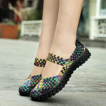 Fashion Women Handmade Woven Flat Shoes Woman Casual BreathableSummer Shoes (Multicolor) - intl - 5
