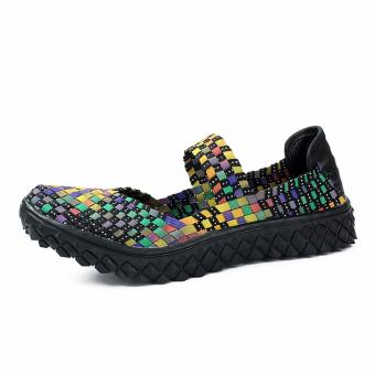 Fashion Women Handmade Woven Flat Shoes Woman Casual BreathableSummer Shoes (Multicolor) - intl