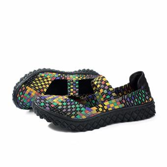 Fashion Women Handmade Woven Flat Shoes Woman Casual BreathableSummer Shoes (Multicolor) - intl - 4