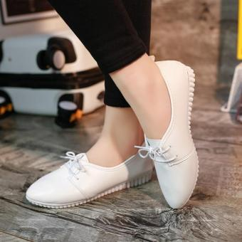 Fashion Women Lace Up Leather Shoes High Quality Casual Shoes forGirls (White) - intl