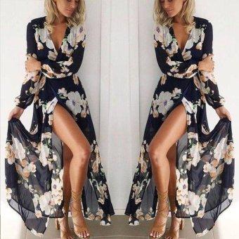 Fashion Women Ladies Long Sleeve Boho Evening Party Floral PrintLong Maxi Dress - intl - 2