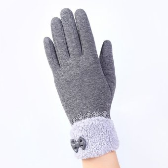Fashion Women Outdoor Winter Warm Click Touch Screen Gloves (Grey) - intl