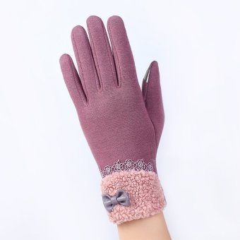 Fashion Women Outdoor Winter Warm Click Touch Screen Gloves (Purple) - intl
