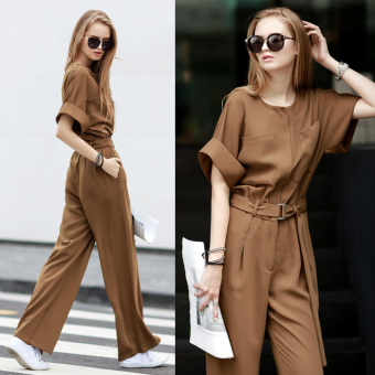Fashion Women Romper Suits High Waist Slim Women Jumpsuit Casual Loose Pants Wide Leg Pants - Intl