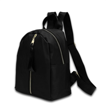 Fashion Women Zipper Bag Backpack High Quality Ladies Girls BackPack Schoolbag--Black - intl