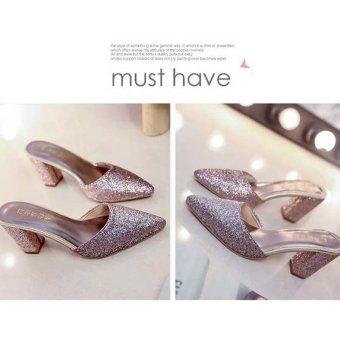 Fashion Women's Shoes Summer Flip Flops Block Heels Sandals Sequins Flowers High Heels Pointed Toe Color Gold - intl - 3