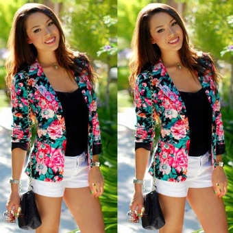 Fashion Womens Floral Long Sleeve Jacket Coat Slim Blazer Suit Casual Outwear
