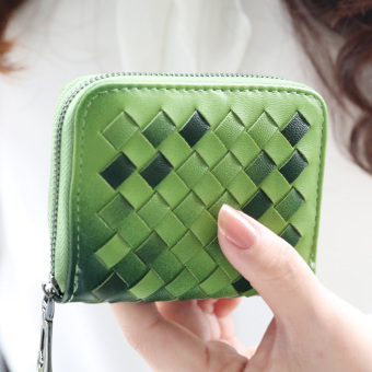 Fashion zip contrasting color woven wallet women's purse bag (Grass green)