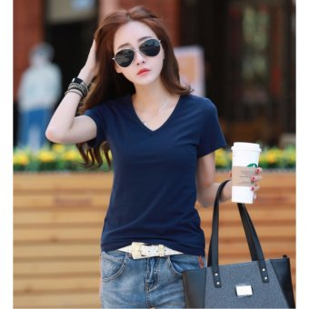 Fashionable Cotton Dark Blue Shirts V Neck for Women