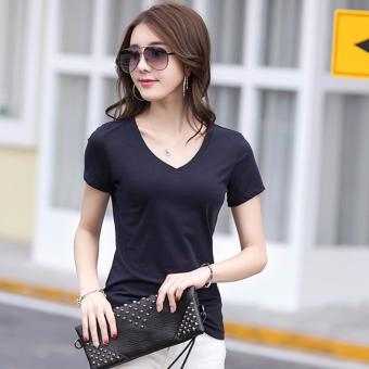 Fashionable Organic Cotton V Neck Shirts for Women - Black and White - 3