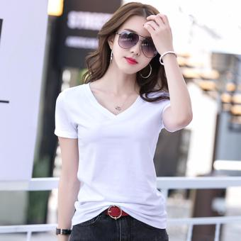 Fashionable Organic Cotton V Neck Shirts for Women - Black and White - 2