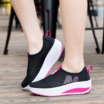 Fashion&casual wedge walking shoes mesh wedge sneaker height increasing for woman -black - intl