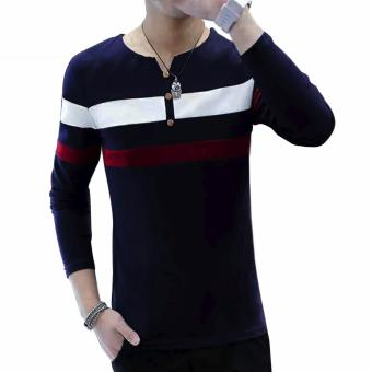 Fashionista HQ Fashion Two Color Two Striped Navy Blue Sweater(White/Maroon) Price Philippines