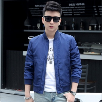 Fashionista Men's Outdoor Bomber Jacket (Blue)