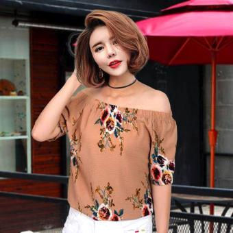 Fashionista Yeon a ?? Korean Style Floral Off Shoulder (Brown)