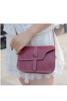Faux Leather Satchel Crossbody Bag (Red)