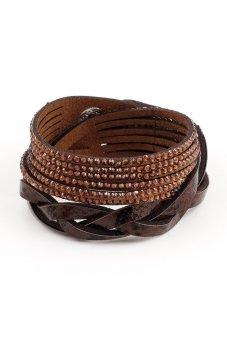 Faux Leather Snake Skin Rhinestone Weave Bracelets (Brown)