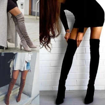 Faux Suede Slim Boots Sexy Over the Knee High Women Snow Autumn Boots Women's Fashion Winter Thigh High Boots Shoes Maxi Plus Boots Woman (Black) - intl