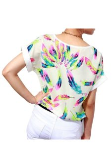 Feathers Chiffon Short Sleeve Loose T-Shirt (White)