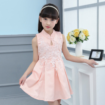 Female big kid New style girls children's princess dress Dress (Pink)