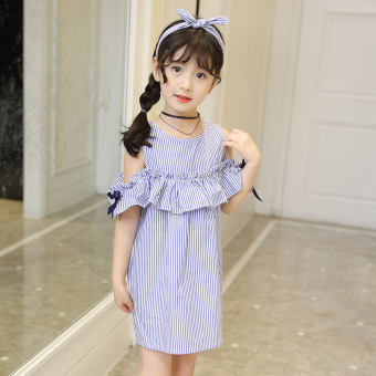 Female big kid New style girls off-the-shoulder dress