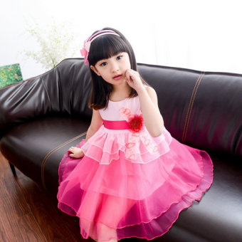 Female big kid New style girls vest skirt dress (Rose)