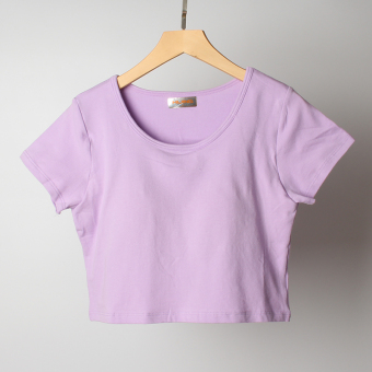 Female Cotton with a chest Pad lo Shi T-shirt (Taro purple)