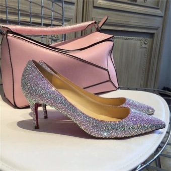 Female Fine with wedding shoes women shoes (Pink)