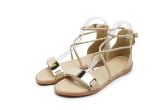 Female flat cross bandage cloth gladiator sandals Korean-style sandals (Beige)