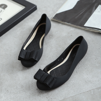 Female flat heel shoes sandals (Black)