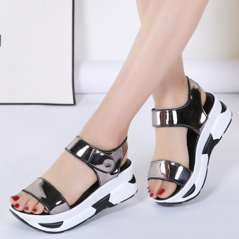 Female flat semi-high heeled thick bottomed muffin shoes elevator sandals (Silver)
