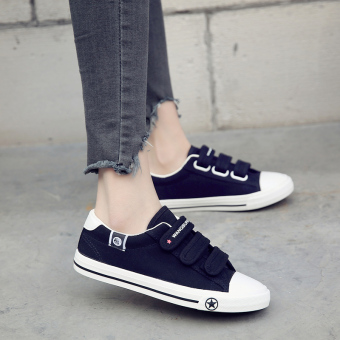 Female flat student shoes white low top canvas shoes (Black)