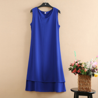 Female long paragraph summer dress chiffon dress (Sapphire blue color)