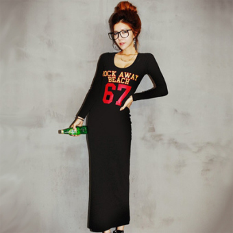 Female long-sleeved autumn New style Slim fit package hip dress casual dress