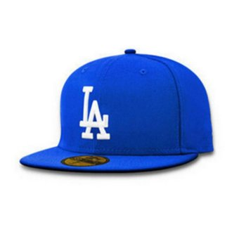 Female male LA flat along the hat hip-hop baseball cap spring summer(Blue white) - intl Price Philippines