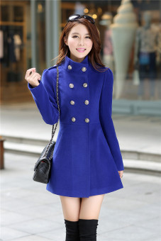 Female mid-length Korean woolen coat women's coat (Sapphire blue color)