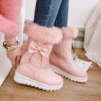 Female New style bow Short Tube short boots winter boots (Pink)