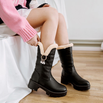 Female New style Liang Zuan tube Martin boots winter boots (Black)