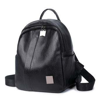 Female New style soft leather backpack (Black (PU Leather))