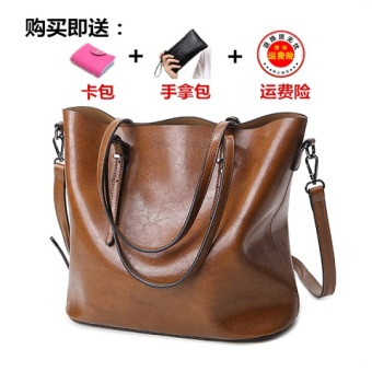 Female New style tote bag (Brown [Collection baby to send clutch bag card holder])