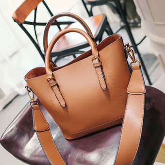 Female New style women's handbag bag bucket bag (Brown)