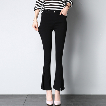 Female Plus-sized stretch high-waisted leggings Bell-Bottom pants