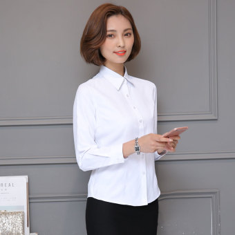 Female Professional work long-sleeved frock shirt white shirt (Twill Fold-down collar white long-sleeved ?)