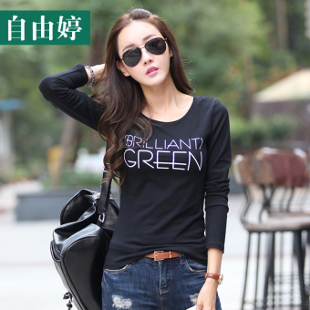 Female short-sleeved Slim fit Slimming effect small shirt T-shirt (Black (126 long))
